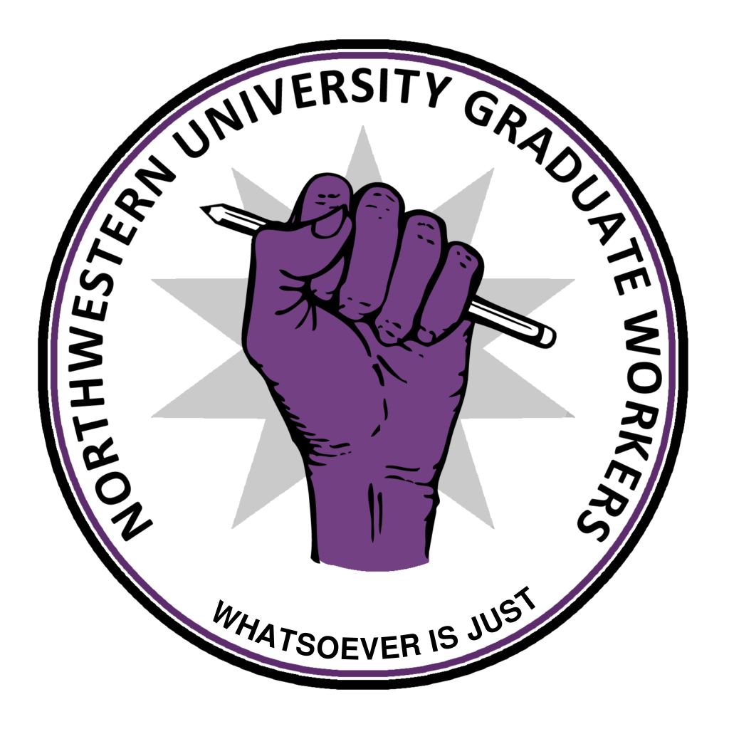 NUGW logo of purple fist with pencil and motto: Whatsoever is just