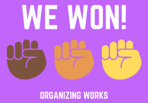 """graphic with three fists saying """"We Won! Organizing Works"""""""