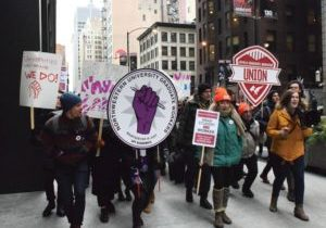 NUGW students marching in solidarity
